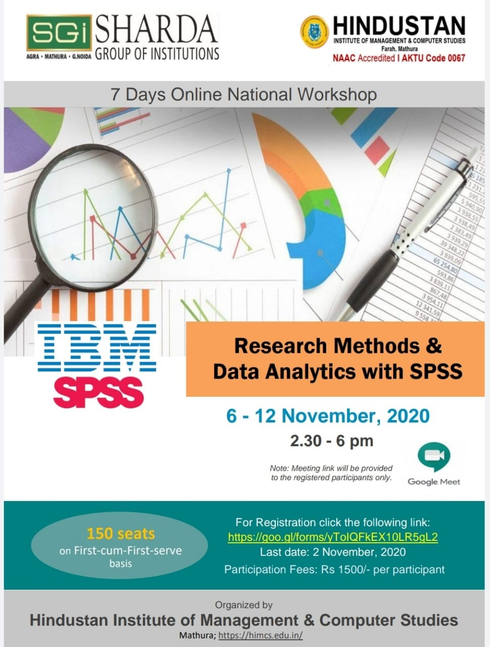 7 days Online National Workshop on Research Methods & Data Analytics with SPSS